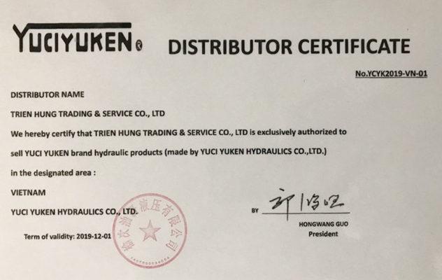 giấy chứng nhận đại lý của yuken