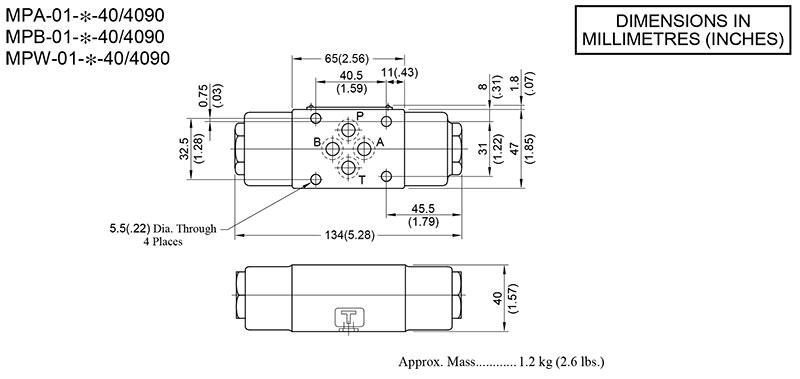 bản vẽ kích thước van chống lún modular yuci yuken mp-01