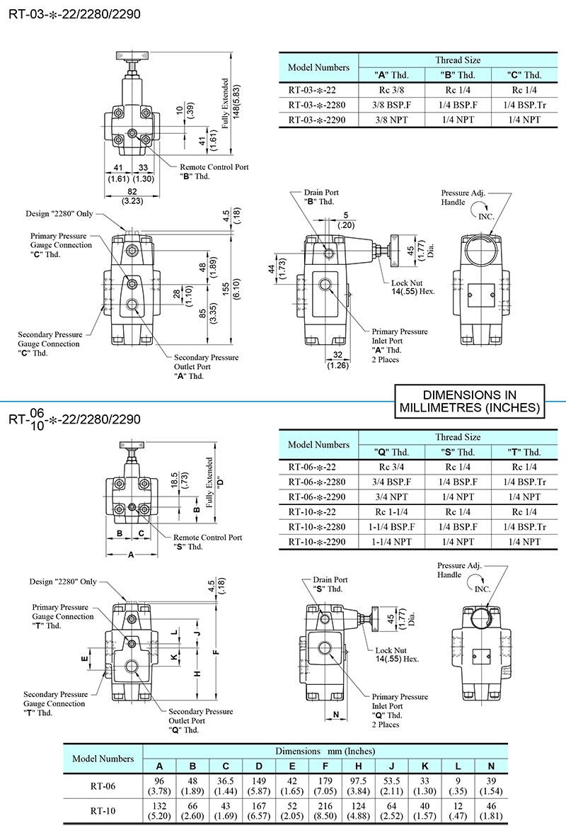 bản vẽ kích thước van yuci yuken rt 03-06-10